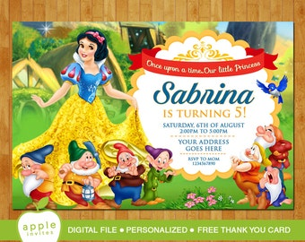 Snow White Invitation, Snow White Party, Snow White Birthday, Snow White, FREE Than you Card!