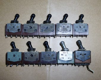 Vintage switches toggle Soviet vintage industrial furniture Steampunk Military switch Vintage button Altered art Made in USSR 70s On off
