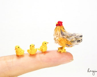 Miniature Hen and yellow chicks, Tiny crochet chicken family, Amigurumi chicks, Miniature Crochet - Made to order