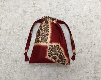 unique smallbag in Red Indian fabric Paisley - cotton bag