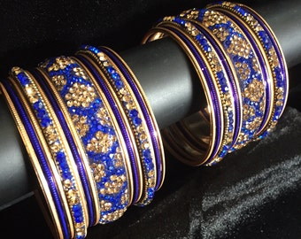 Indian Bangles Set Traditional Bangle Bracelet Set Blue Gold Crystals Personalized Wedding Bangles Bollywood Indian Jewelry Bridal Bangles