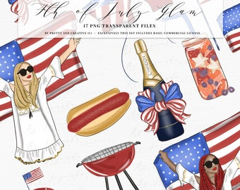 Fourth of July Clipart Bundle, Red e Blue Clipart, 4th of July Clip Art Set, Independence Day, COMMERCIAL LICENSE INCLUDED Only This Set!