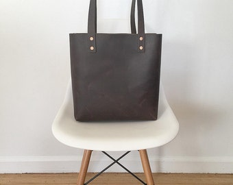 Chocolate Brown Handmade Leather Tote Bag