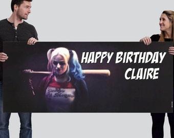 Harley Quinn Custom Happy Birthday Banner-Digital (2.5'x6' or other)