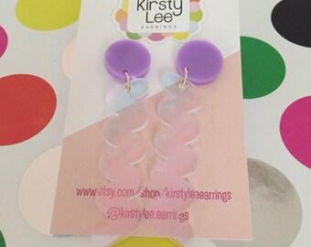Mr squiggle earrings - laser cut acrylic - Kirsty Lee Earrings