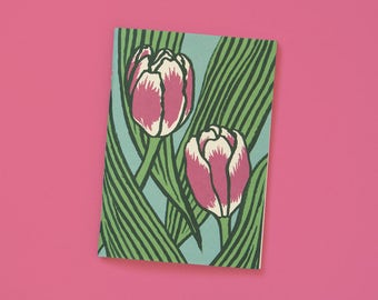 A6 note book blank pink tulips