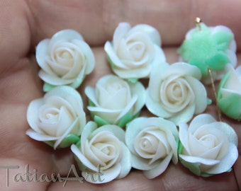 White Rose 10 pcs White clay flowers 0,39 inch 0,59 inch Flower bead Handmade Polymer clay Flowers Jewelry Supplies Pearl white rose