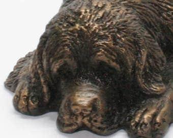 Newfoundland Lying - Small Cold Cast Bronze Dog Statue