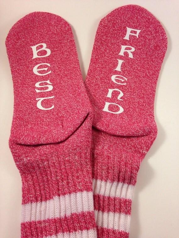 Pink women's crews socks Best... Friend