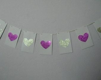 Valentine's Banner, Glitter Heart Banner, Happy Valentine Love Banner, Ready to ship
