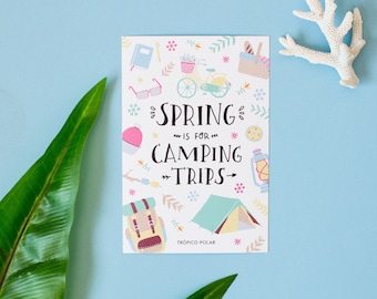 Postcard ' Spring is for camping trips'