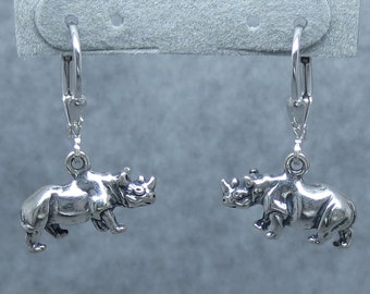 3D Rhinocerous Leverback Earrings Sterling Silver 161260