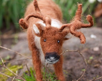 Commissions* Super Cute Stag Reindeer Deer Needle Felted Ornament Custom Made Decoration Gift Woodland