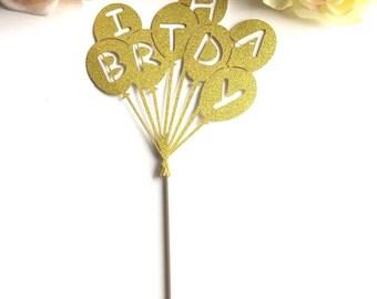 Gold glitter Happy Birthday Cake Topper Limited Edition Balloon Design