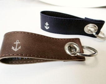 Keychain leather, anchor, text