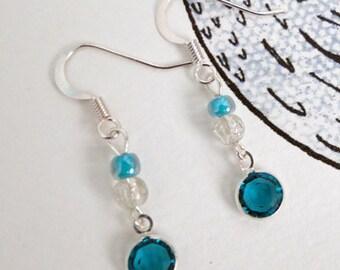 Swarovski blue charm sterling silver earrings
