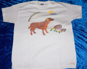 Kids T-Shirt 9/11 years, drawn pattern by hand, dog and Hedgehog, animals