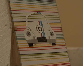 Herbie/Love Bug/53/ Beetle/Handmade/ Car Illustration/Paper Craft/Gift/Wall Art/Toddler/Baby Room/Children/Retro/Birthday/Adult