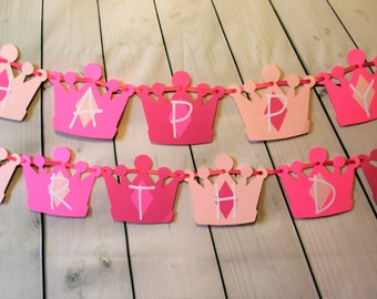 Princess Crown Birthday Banner