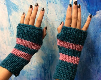 Wrist Arm Warmers ~ Hand knitted Teal/Pink Stripe