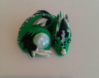 Polymer Clay Green Glowing Dragon