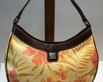Franco Sarto, Shoulderbag / Handbag / Tote / Purse - Designer  Beige Fabric  With Flowers.