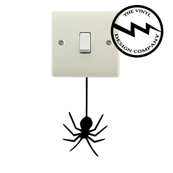 Hanging Lamp Wall Sticker: Hanging Spider Light Switch Sticker Bedroom Wall Art Vinyl