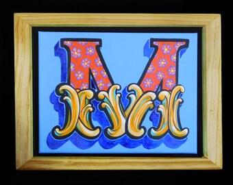 Original Letter M - Framed Boxed Canvass