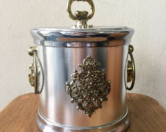 Retro Plastic Chrome Ice Bucket with Gold Rams and Fleur Details Drinks Cart