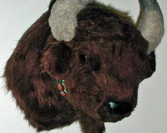 "Plush Buffalo Head ""Cody"" Small Wall Mount"