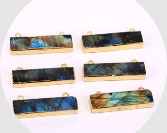 2/6pcs Natural Long Labradorite Pendant Bead, rectangle bar labradroite connector with double bails, druzy labradorite stone