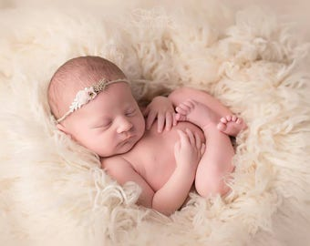 Newborn Tieback, Newborn Headband, floral Tieback, Silk Tieback, Natural Tieback, Baby Girl Prop, Newborn Photography, Newborn Prop