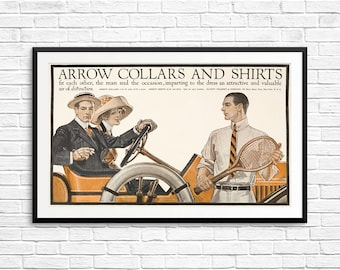 Old cars, Arrow Collars, Arrow Shirts, vintage menswear, vintage ads, 1920s art, 1920s posters, gifts for dad, gifts for him, father's day