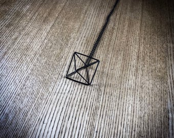 Geometric Necklace, 3D Pendant, Rhombus Jewellery, Prism Accessories, Mathematical Fashion, Minimalist style