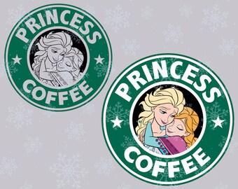 Disney Princess coffee Frozen SVG cutting ESP vector instant download
