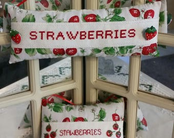 "Summer Strawberries shelf sitter, hanging pillow, mini pillow. 4""x10.5"". Strawberry"