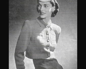 Vogue 1940's Knitting Pattern Sophisticated Lady's Box Jacket PDF WWII Rare