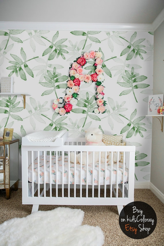 Green leaves wallpaper tropical plants wall mural kids for Baby room decoration uk