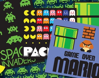 Inspired by Classic Video Games! Mario / Pacman / Space Invaders - Cricut File - Scrapbook - .SVG and .PDF Digital Files - Unofficial
