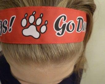 Non-slip Adjustable Headband Georgia Go Dawgs in red and black