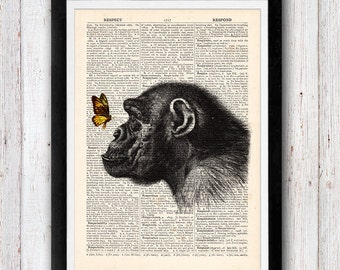 Monkey and the butterfly print vintage dictionary page book art print