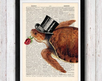 Romeo the Turtle with Flowers Print / Sea Turtle Print on Dictionary Page  / Vintage Dictionary Page Book Print
