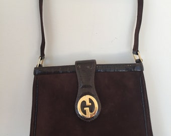 Vintage 70's 1973 GUCCI GG Clasp Lizard and Brown Suede Leather Shoulder Bag Purse Clutch