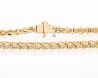 Dainty 14K Yellow Gold 1.25 CTW Diamond Ladies Prong Set Tennis Bracelet