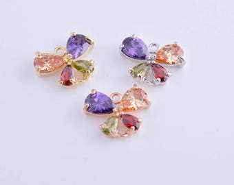 Butterfly charm/pendant/connector, Colorful CZ zircon rhinestone butterfly charm/pendant/connector/necklace/bracelet/earring,14MM*11MM
