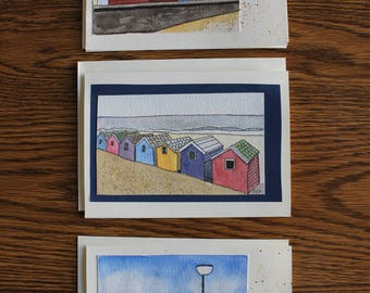 hand made cards, hand painted cards , beach huts, beach houses, colorful, whimsical, watercolor, original art, nautical card set, stationary