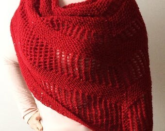 Red knit lace sequined shawl - shawl, wrap, shrug - Women, Girls