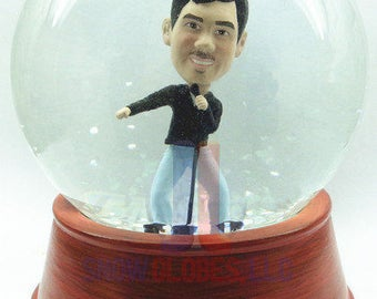 Hand sculpted single custom snow globe - Male singer - with your head!