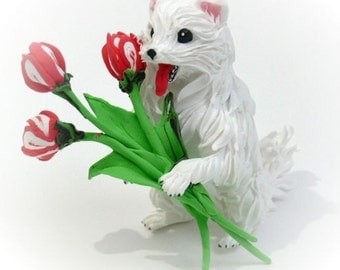 Dog,dog figure,dog statue,statue sculpture,dog with flowers,white