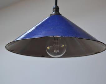 Small Vintage Blue Enamel Pendant Light
